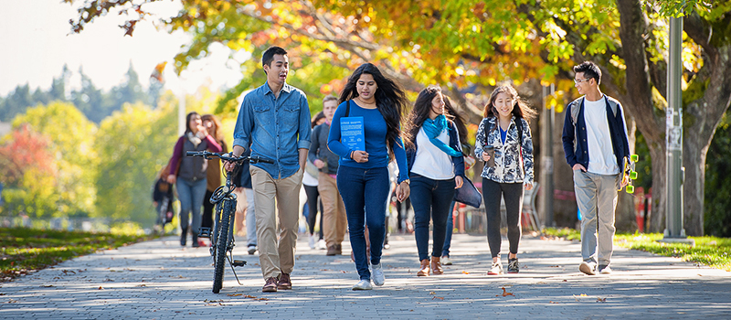 A group of students walking on UBC campus
